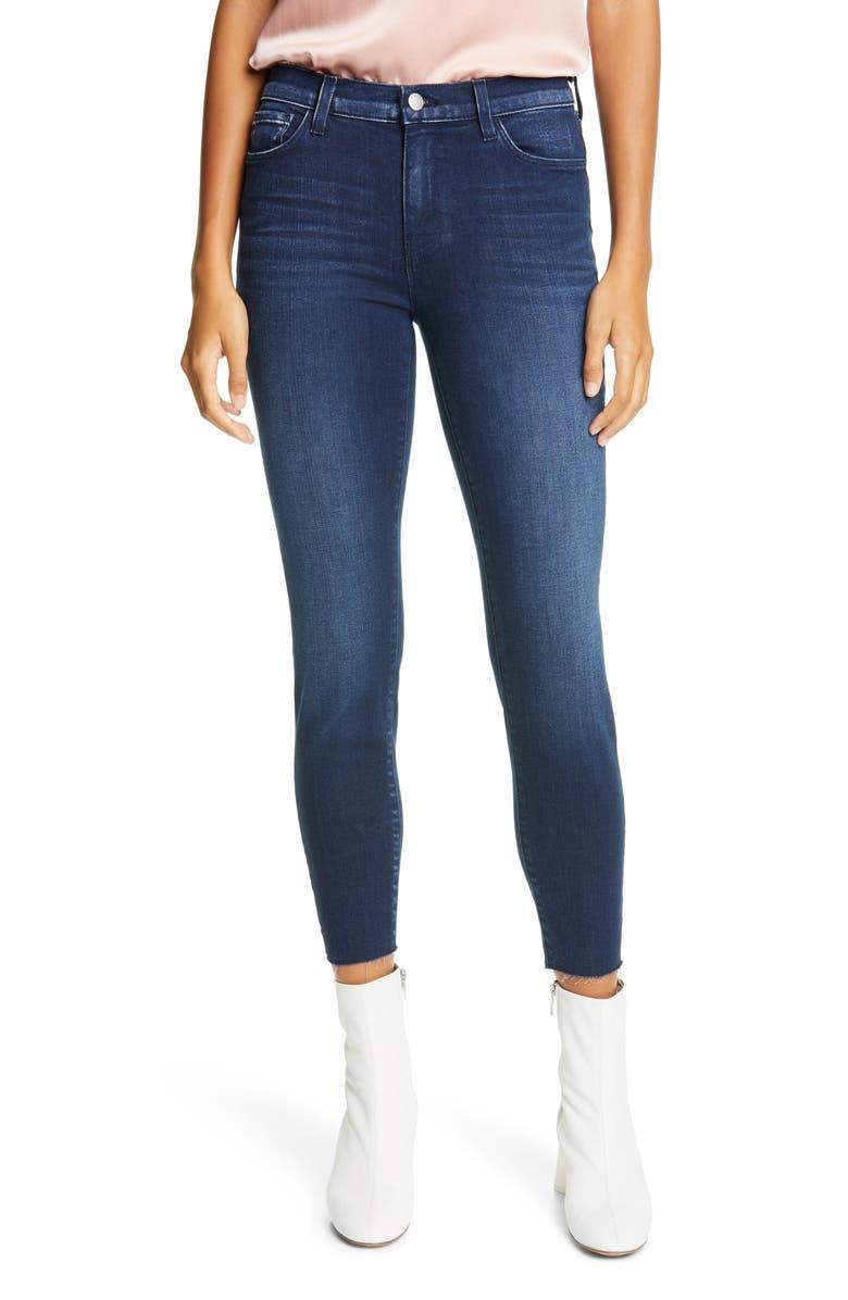 L'AGENCE El Matador Slim Raw Hem Crop Jeans, Main, color, ANCHOR BLUE