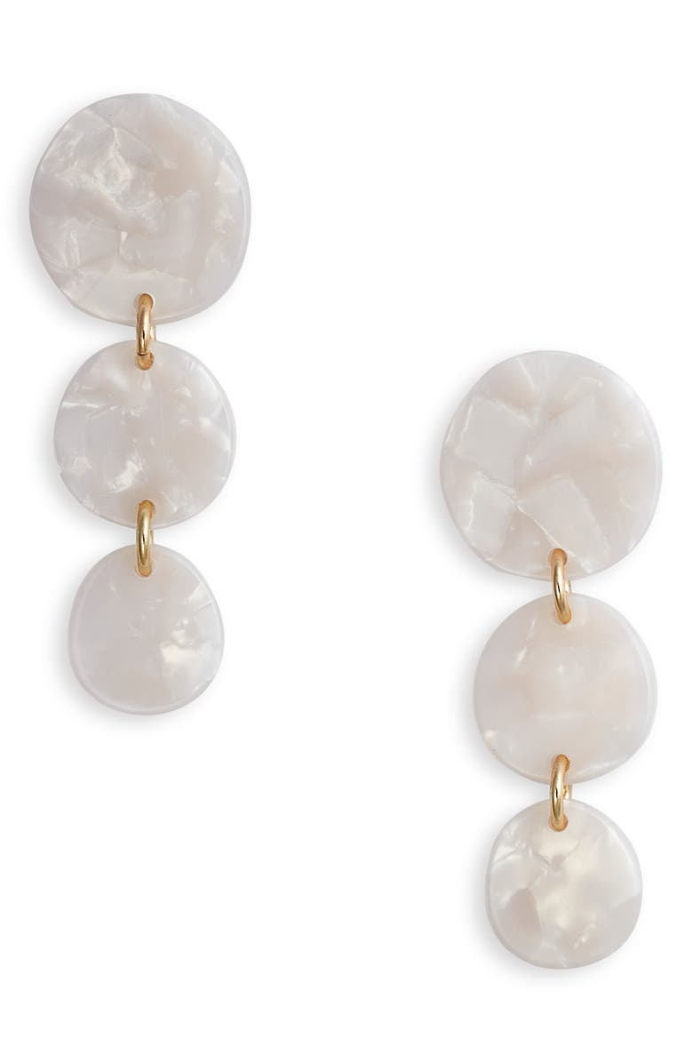 HALOGEN<SUP>®</SUP> Resin Disk Linear Drop Earrings, Main, color, 100