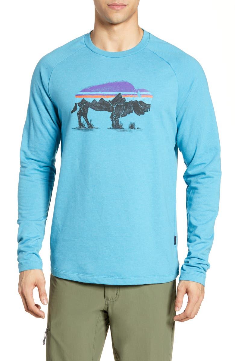 PATAGONIA Fitz Roy Bison Logo Sweatshirt, Main, color, MAKO BLUE