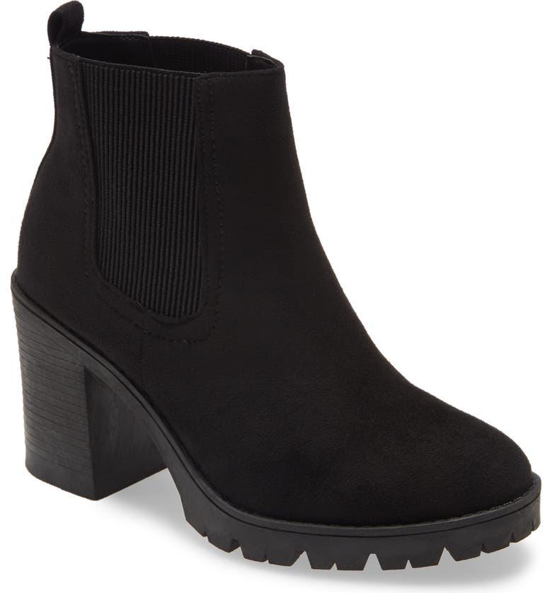 TOPSHOP Byron Chelsea Boot, Main, color, BLACK SUEDE
