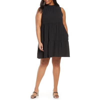Plus Size Gibson X The Motherchic Lakeshore Tiered Dress, Black
