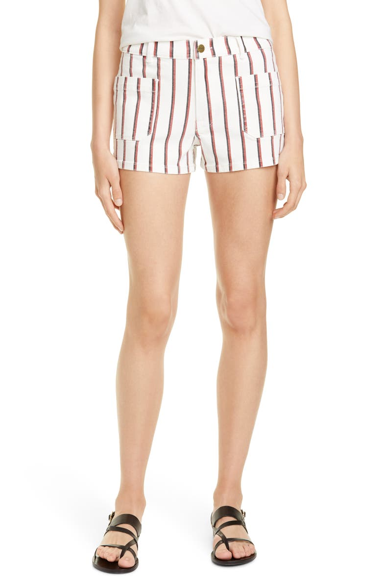 FRAME Le Bardot Denim Shorts Classic Stripe