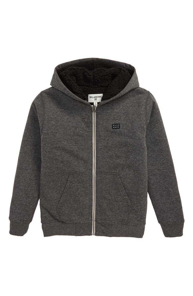 BILLABONG All Day Fleece Zip Hoodie, Main, color, BLACK