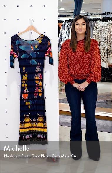 Floral Print Rib Midi Sweaterdress, sales video thumbnail