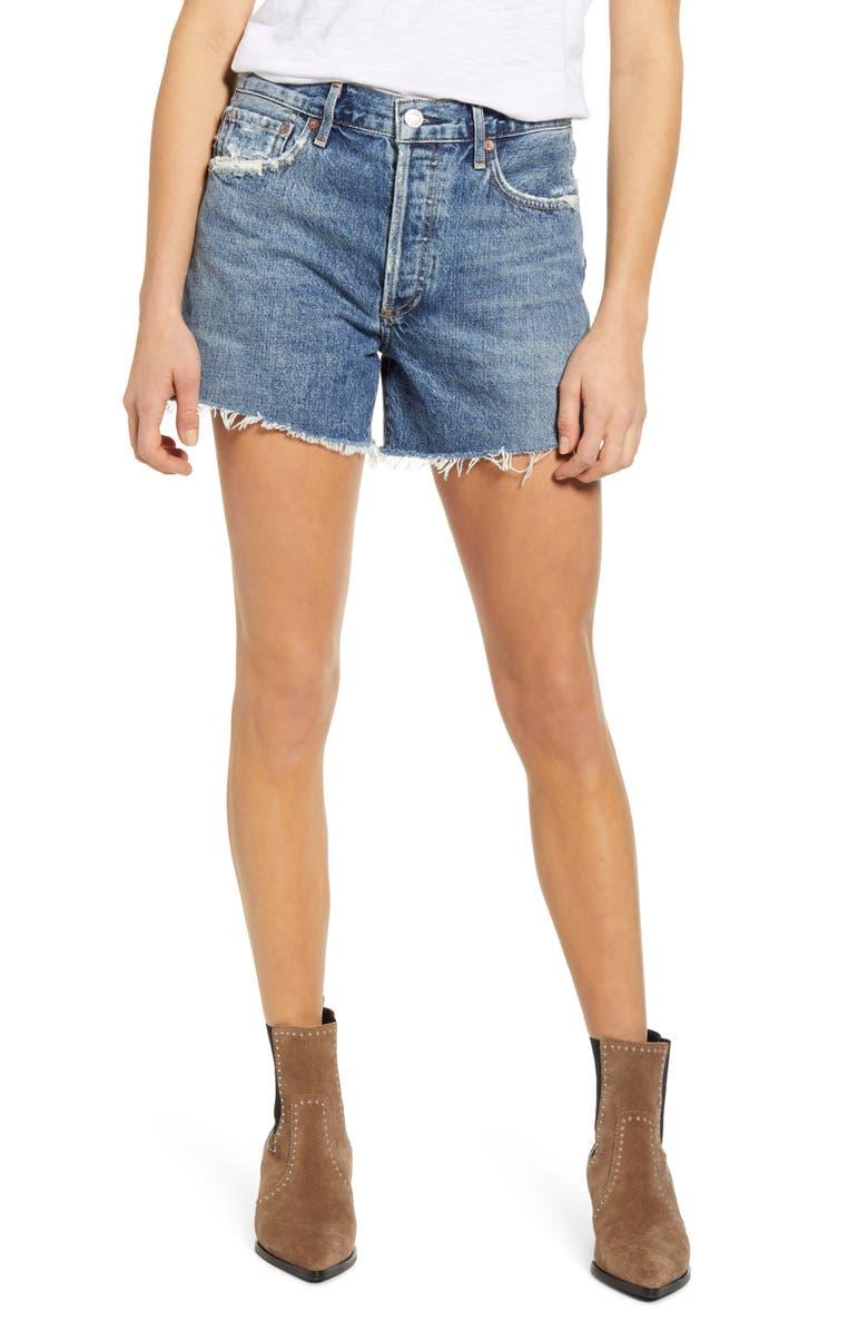 AGOLDE Reese High Waist Cutoff Denim Shorts, Main, color, PRECISION