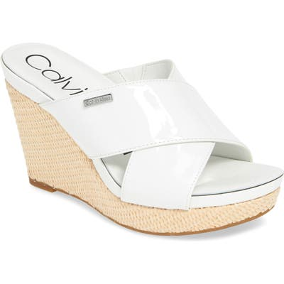 Calvin Klein Jacolyn Wedge Slide Sandal, White