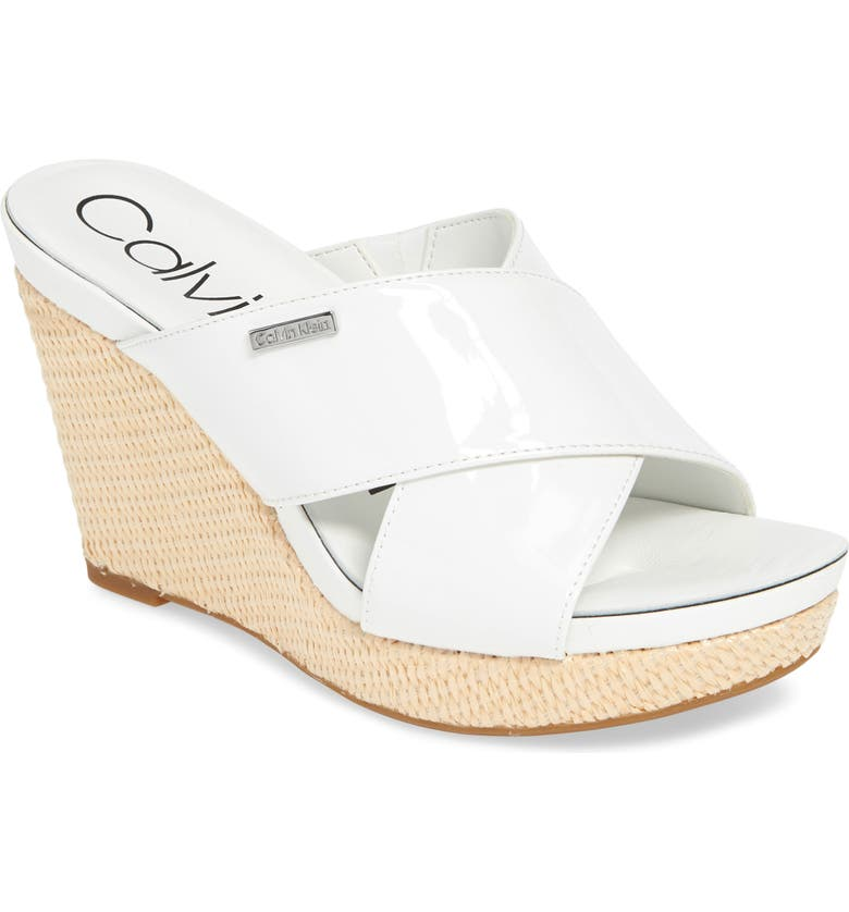 CALVIN KLEIN Jacolyn Wedge Slide Sandal, Main, color, WHITE LEATHER