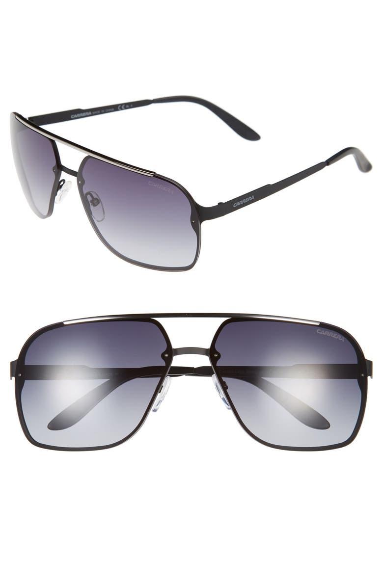 CARRERA EYEWEAR 64mm Navigator Sunglasses, Main, color, MATTE BLACK/ GREY GRADIENT