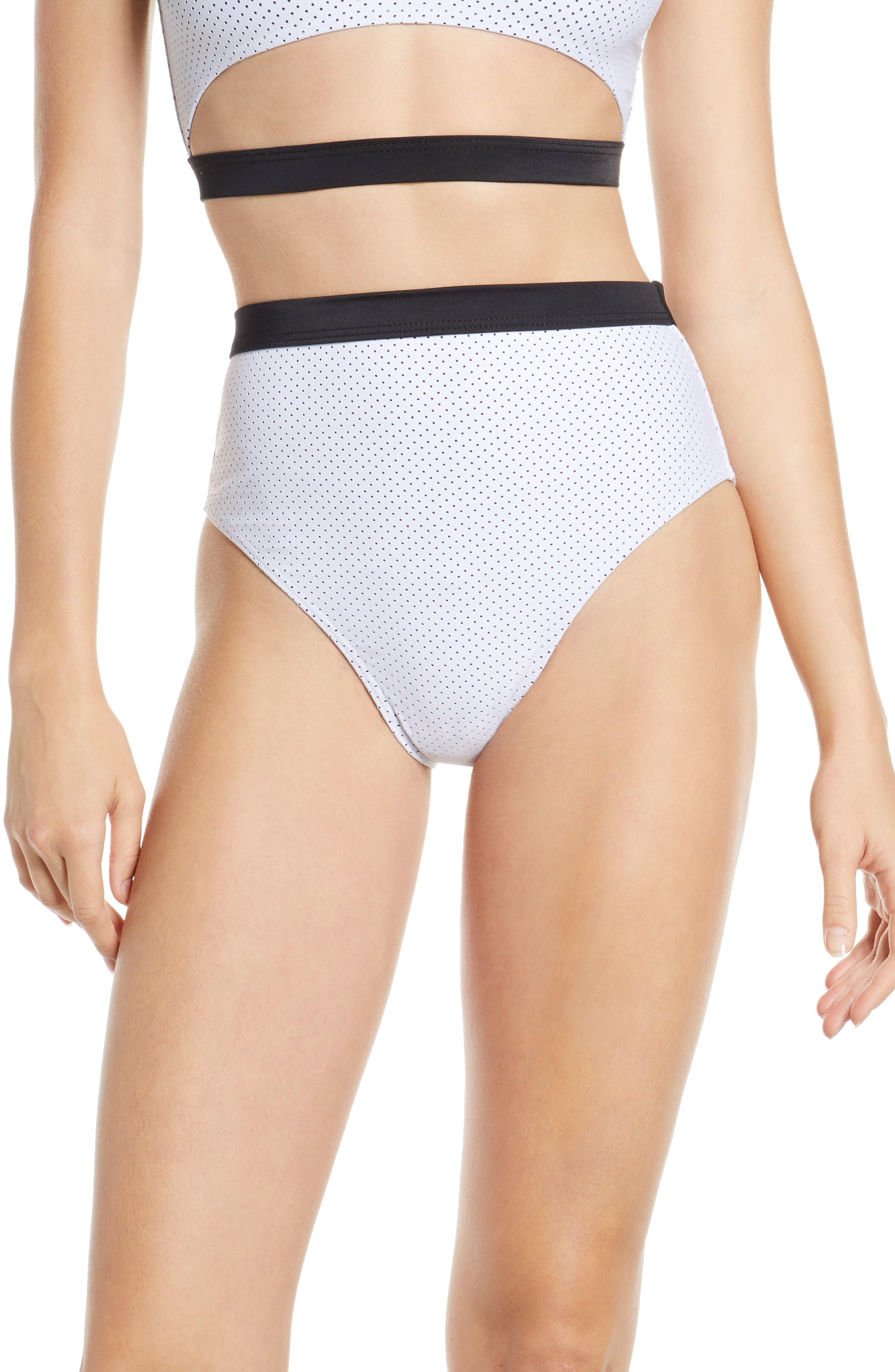 Chromat Drew High Waist Bikini Bottoms, White