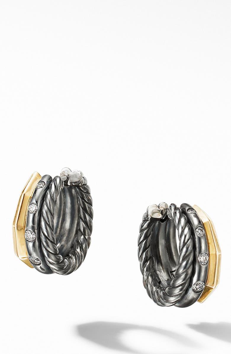 DAVID YURMAN Stax Huggie Hoop Earrings in Blackened Silver with Diamonds, Main, color, BLACK RHODIUM/ GOLD/ DIAMOND
