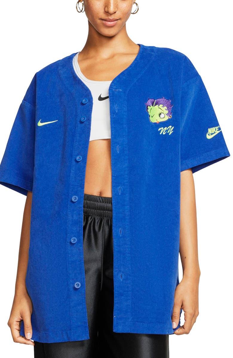 NIKE x Olivia Kim Corduroy Baseball Jersey, Main, color, GAME ROYAL