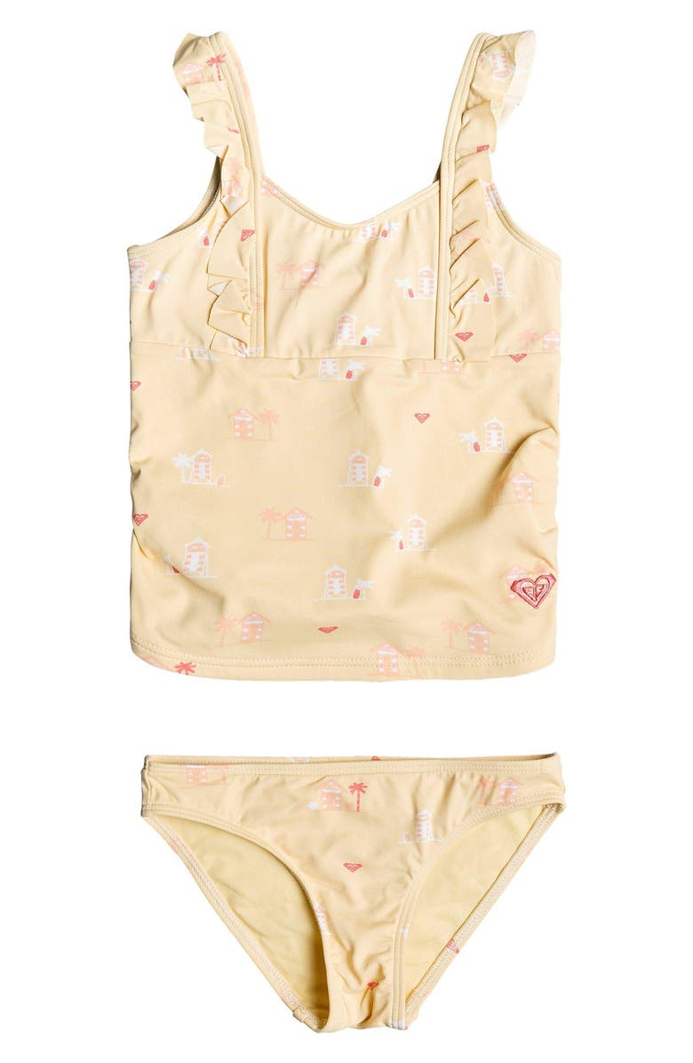ROXY Tropical Getaway Ruffle Two-Piece Swimsuit, Main, color, SUNLIGHT S DEAUVILLE