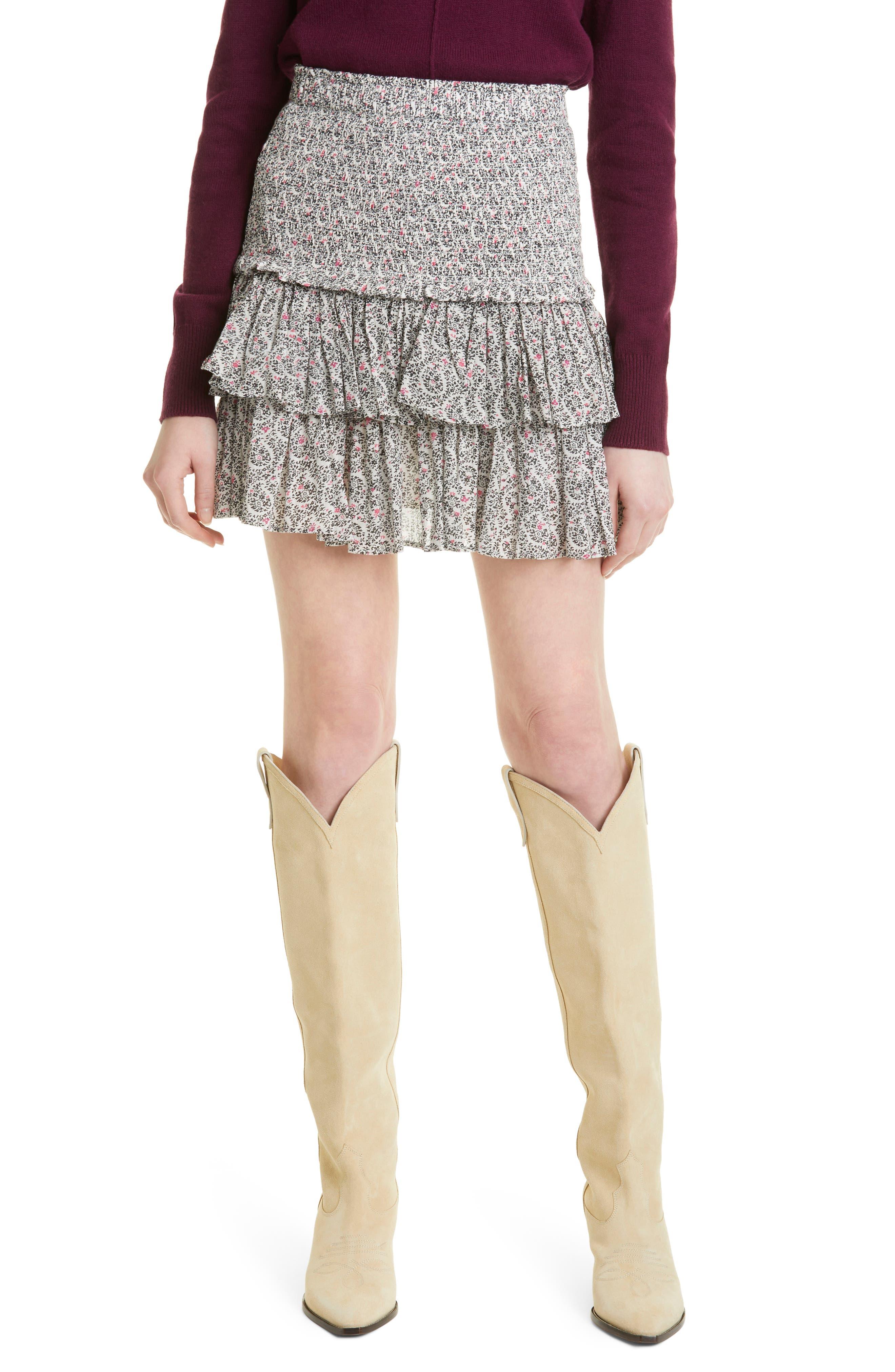 Women's Isabel Marant Etoile Naomi Smocked Floral Tiered Skirt