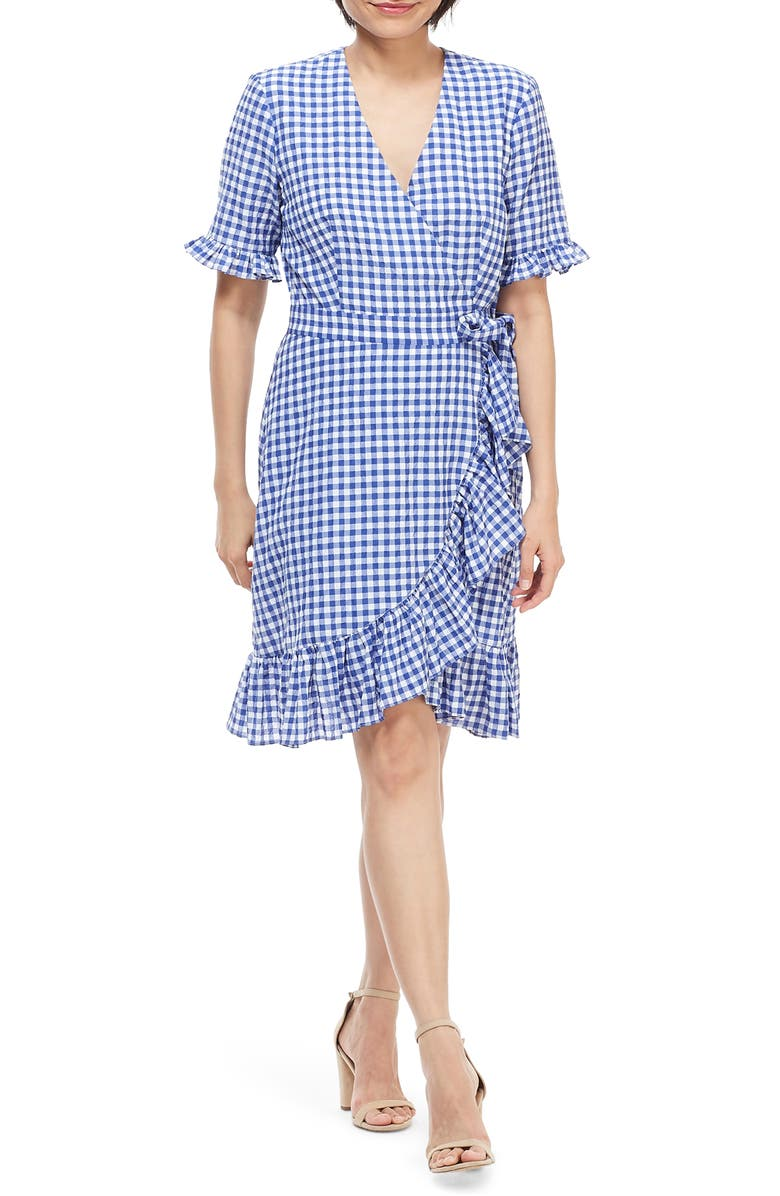 MAGGY LONDON Faux Wrap Ruffle Dress, Main, color, BLUE/ WHITE