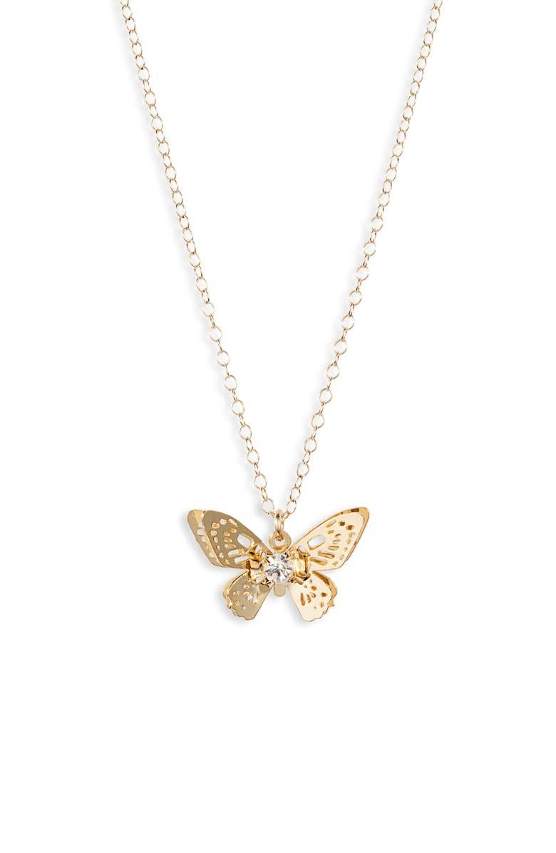BRACHA Monarch Butterfly Pendant Necklace, Main, color, GOLD