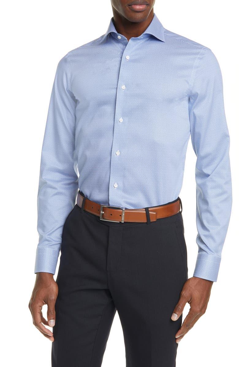CANALI Regular Fit Geometric Dress Shirt, Main, color, 400