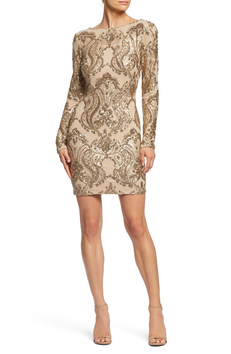 DRESS THE POPULATION Lola Sequin Body-Con Dress, Main, color, 250