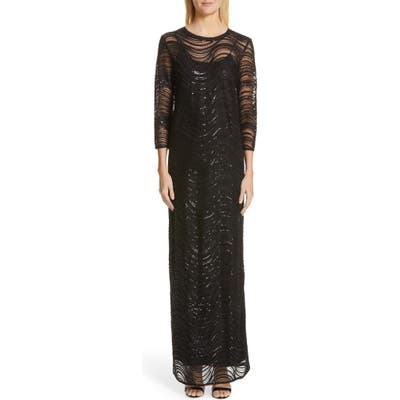 Emporio Armani Sequin Embellished Overlay Gown, US / 48 IT - Black