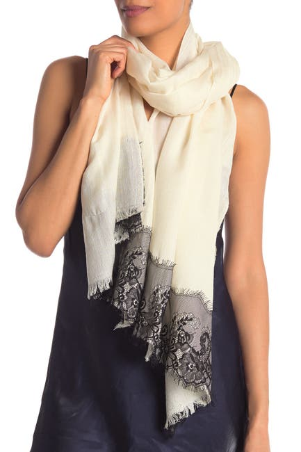 Image of La Fiorentina Wool Silk Blend Lace Scarf