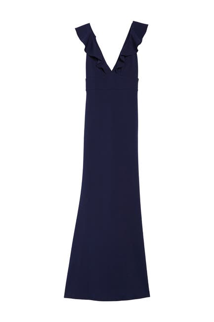 Image of JUMP Crepe Ruffle Neck Gown
