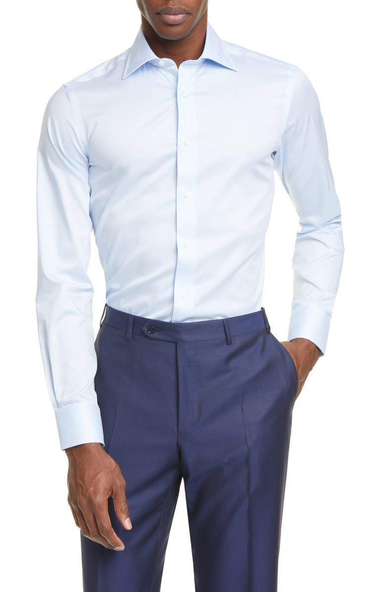 CANALI Regular Fit Geometric Dress Shirt, Main, color, 400