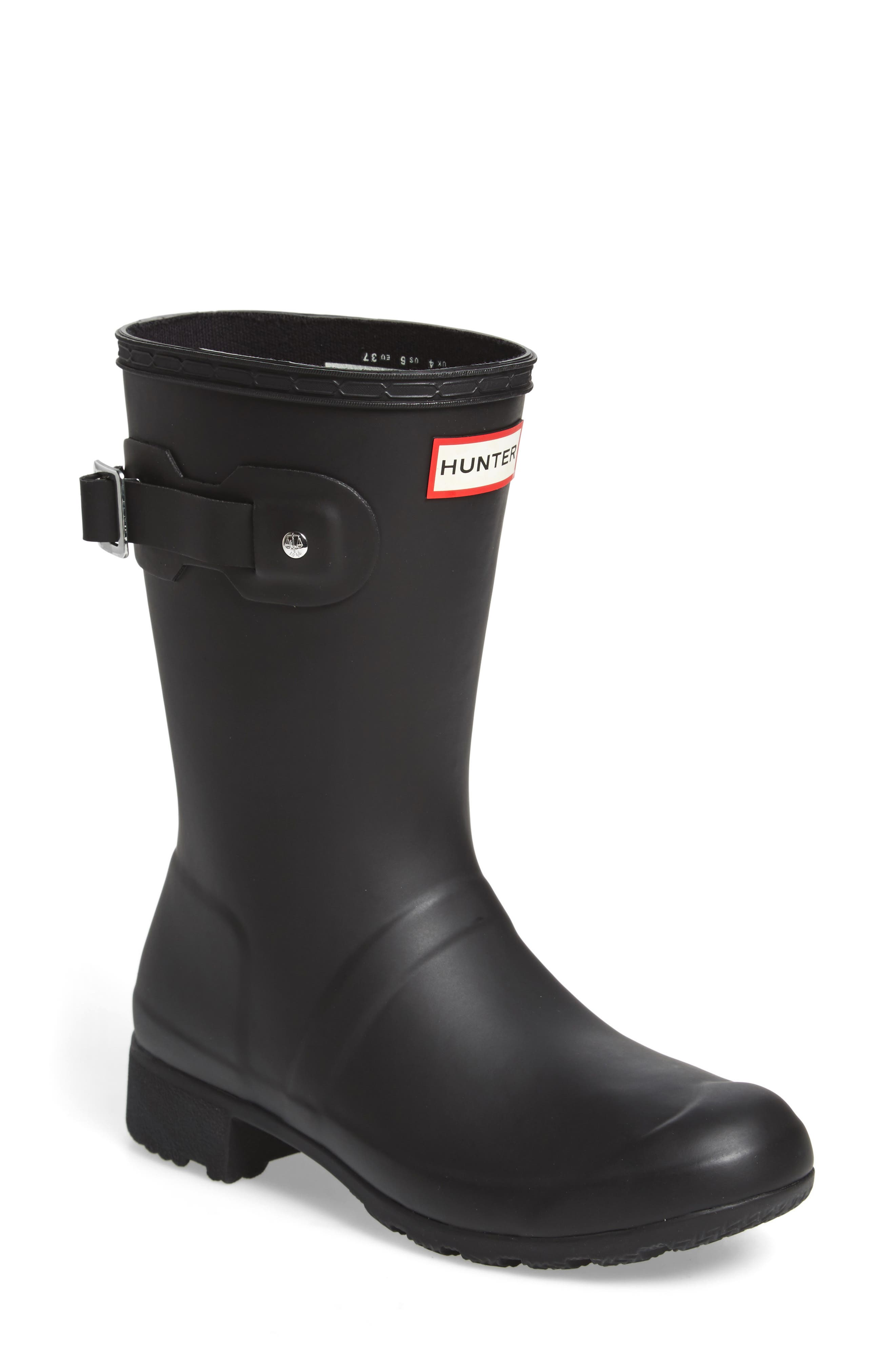 Hunter Original Tour Short Packable Rain Boot, Black