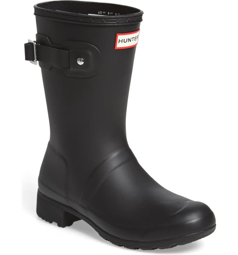 HUNTER Original Tour Short Packable Rain Boot, Main, color, 001