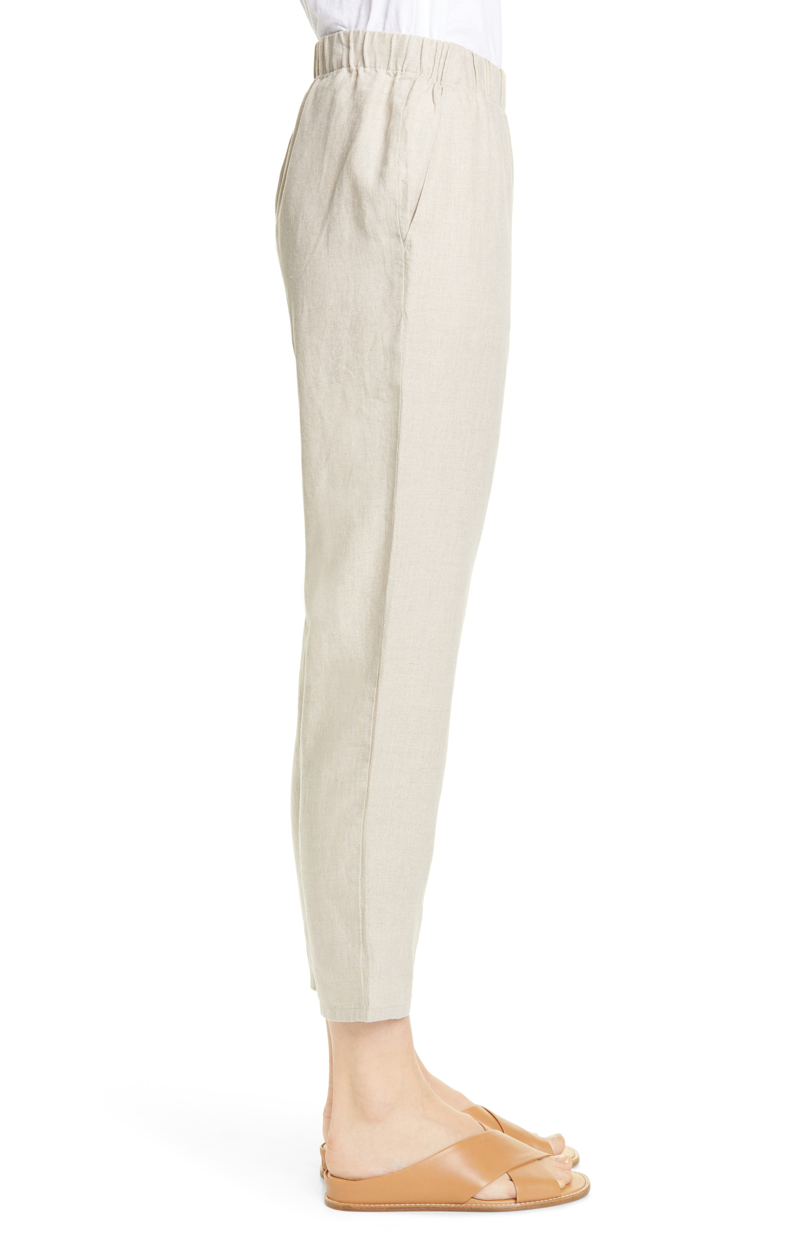 ,                             Tapered Linen Ankle Pants,                             Alternate thumbnail 4, color,                             UNDYED NATURAL