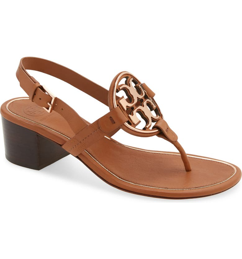 TORY BURCH Metal Miller Slingback Sandal, Main, color, TAN/ ROSE GOLD