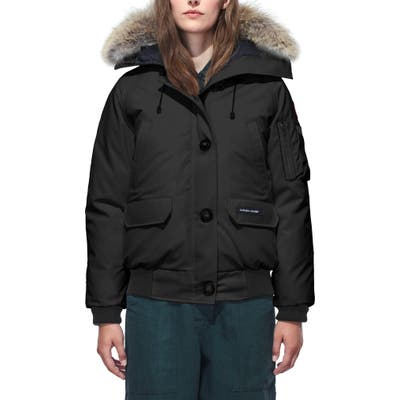 Petite Canada Goose Chilliwack Fusion Fit 625 Fill Power Down Bomber Jacket With Genuine Coyote Fur Trim, Black