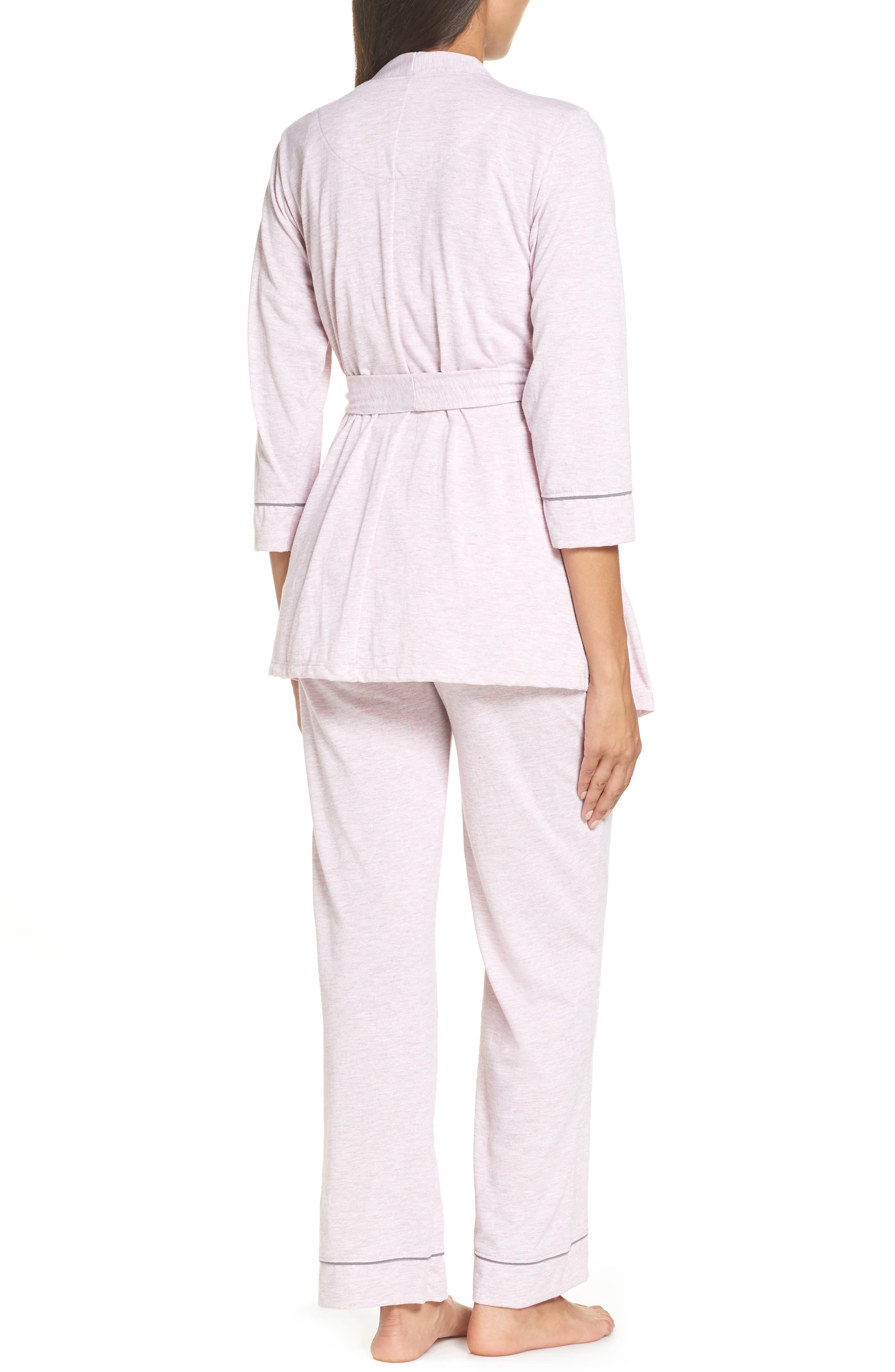 ,                             Maternity/Nursing Robe & Pajamas,                             Alternate thumbnail 3, color,                             PINK MARLE