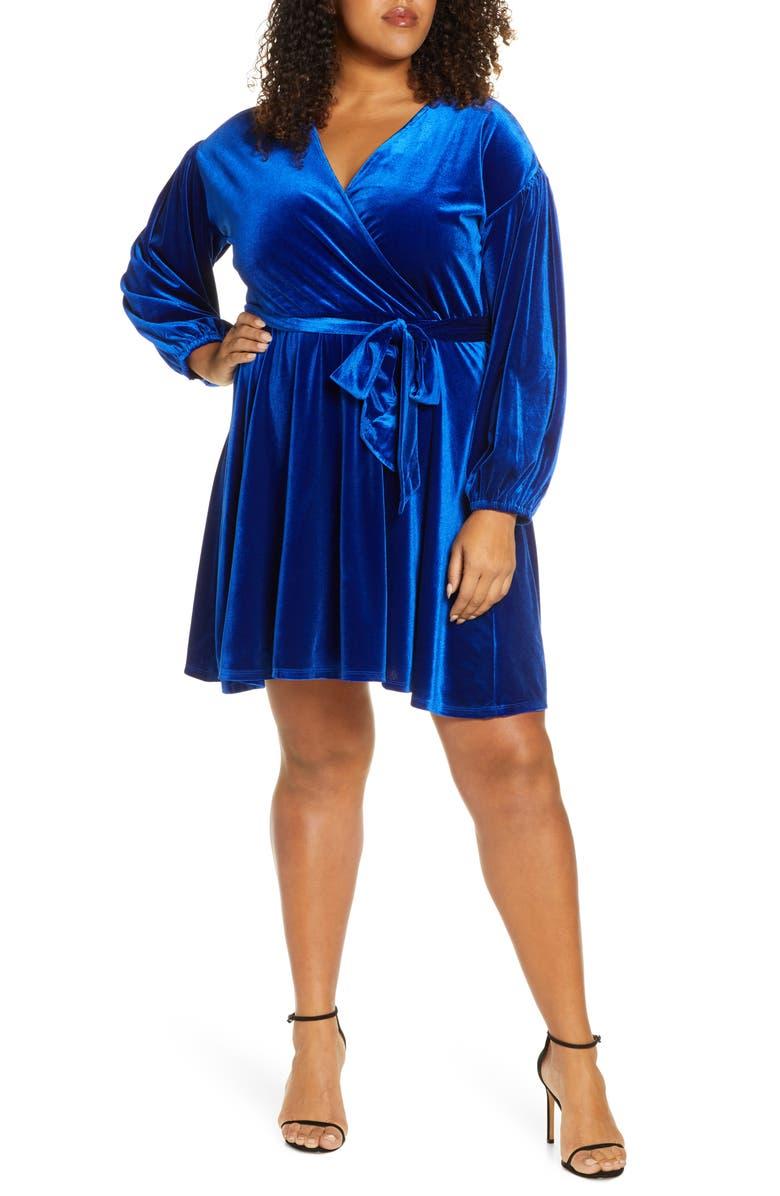 ELOQUII Faux Wrap Long Sleeve Velveteen Dress, Main, color, 400