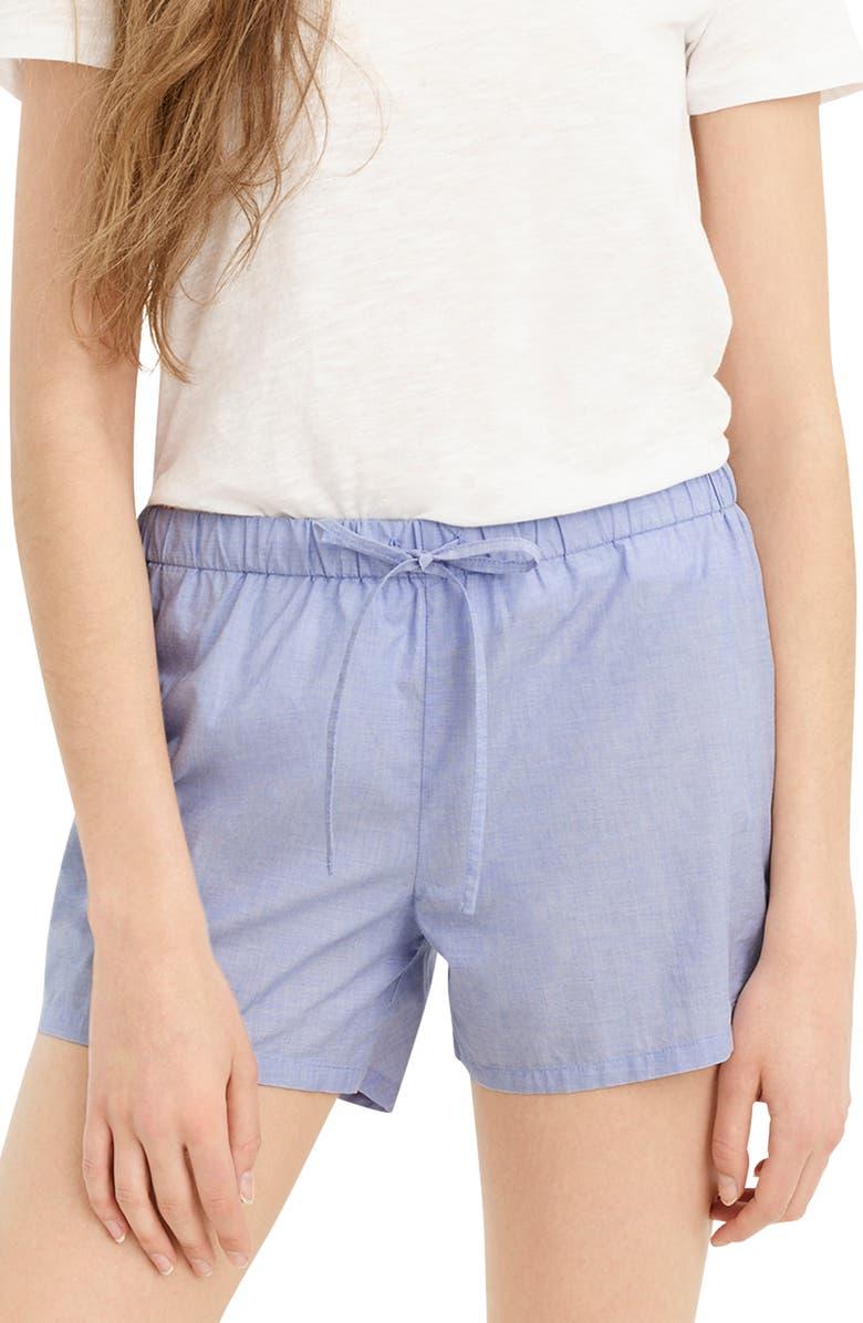 J.CREW End on End Cotton Sleep Shorts, Main, color, HYDRANGEA BLUE