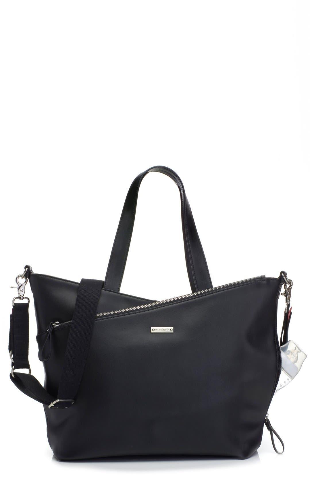 'Lucinda' Diaper Bag Leather Tote, Main, color, BLACK