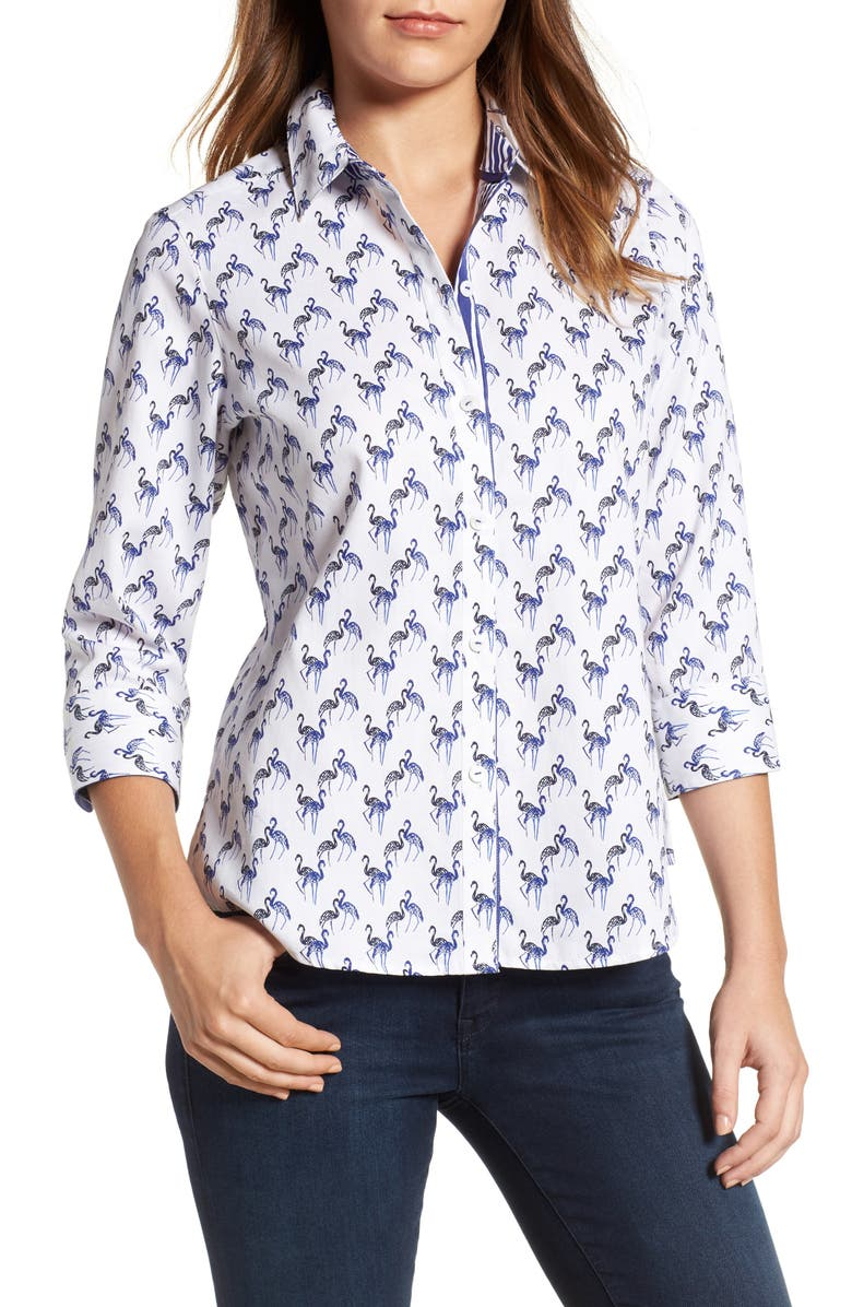 FOXCROFT Flamingo Print Wrinkle Free Shirt, Main, color, 400