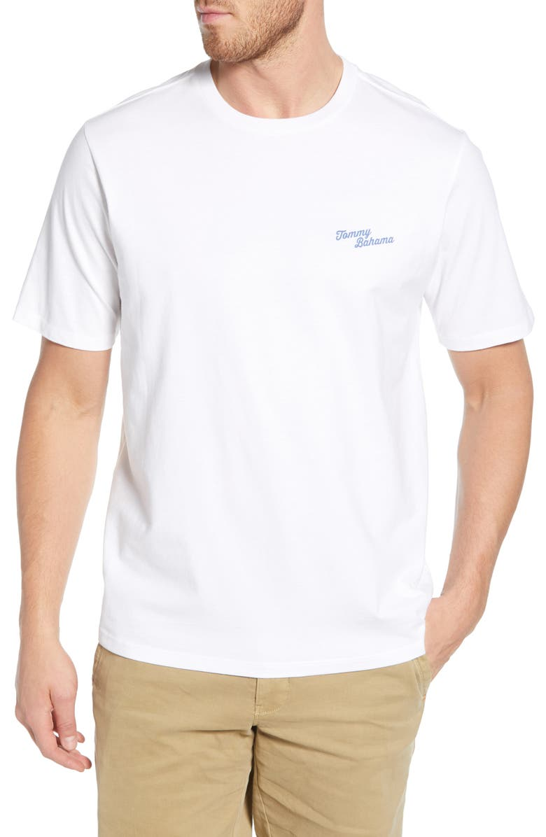 TOMMY BAHAMA First Class Flight Graphic T-Shirt, Main, color, WHITE
