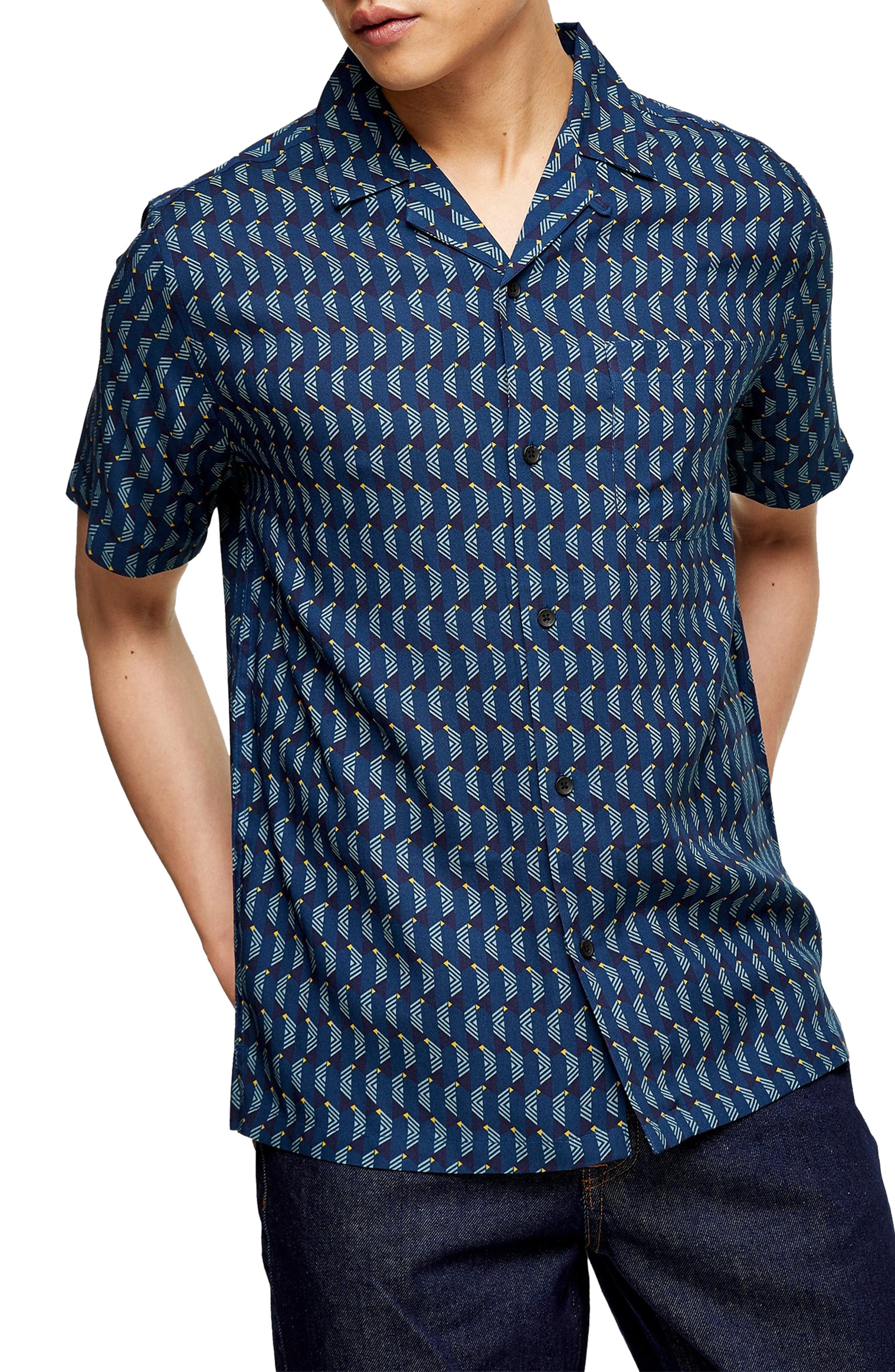 1960s Mens Shirts | 60s Mod Shirts, Hippie Shirts Mens Topman Slim Fit Geometric Print Camp Shirt Size X-Small - Blue $45.00 AT vintagedancer.com