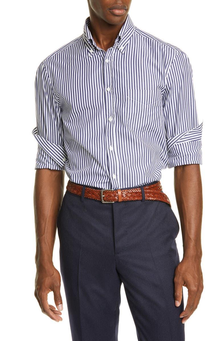 BRUNELLO CUCINELLI Slim Fit Stripe Button-Down Sport Shirt, Main, color, PURPLE