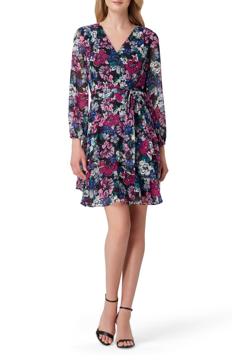 TAHARI Print Long Sleeve Faux Wrap Dress, Main, color, BLACK BERRY BLOOM
