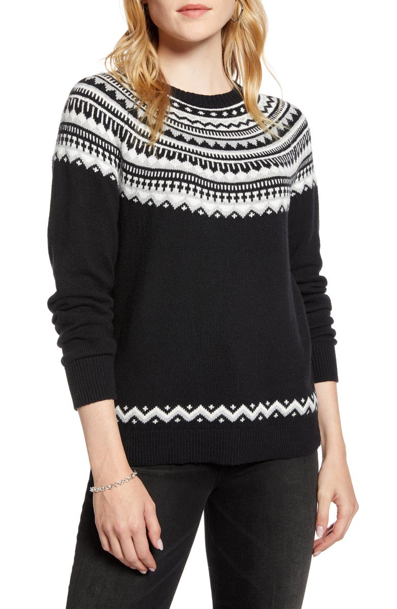 1901 Fair Isle Shrunken Crewneck Sweater, Main, color, BLACK MULTI