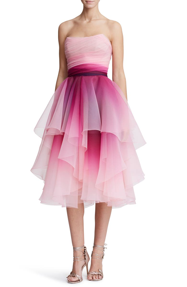 MARCHESA Strapless Ombré Organza Cocktail Dress, Main, color, FUCHSIA