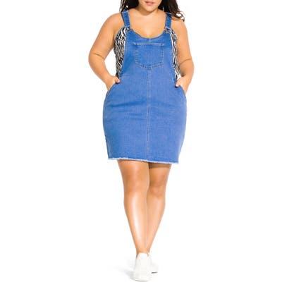 Plus Size City Chic Denim Jumper Dress, Blue