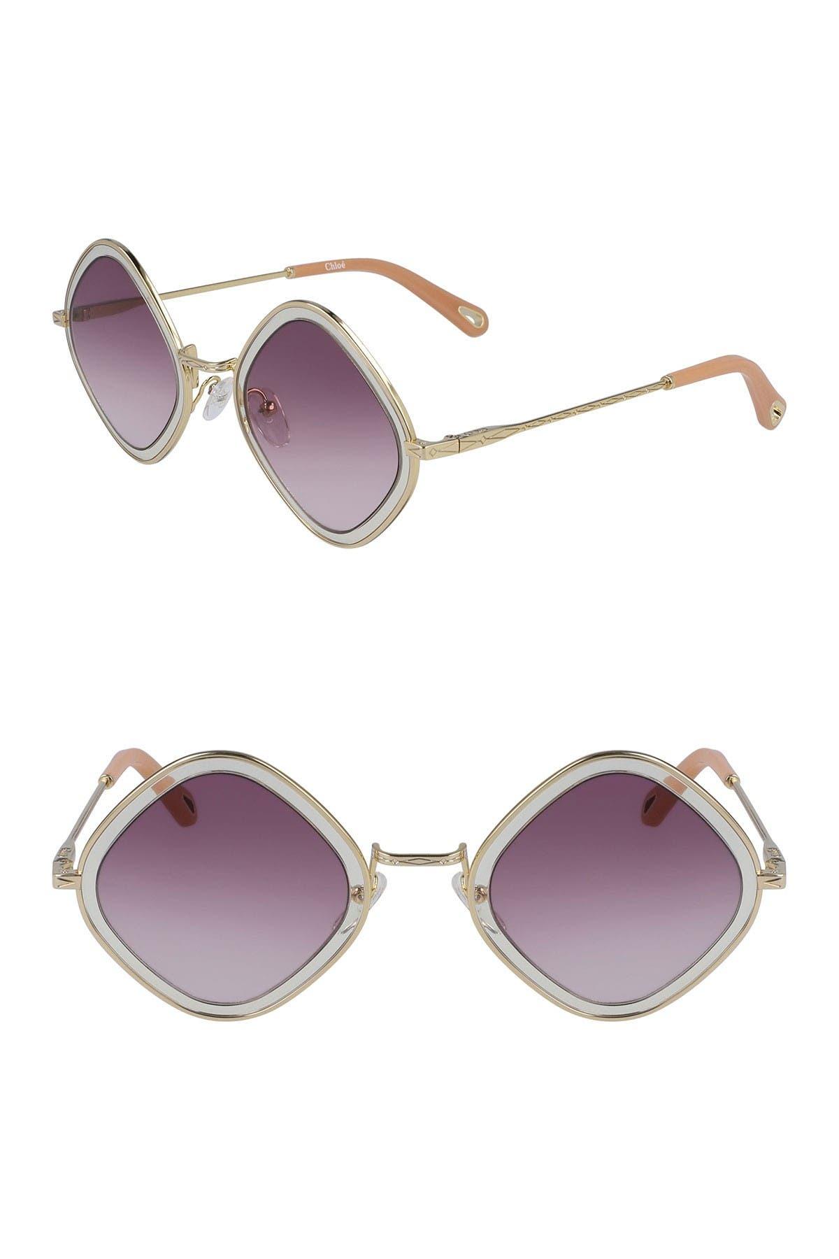 1960s Sunglasses | 70s Sunglasses, 70s Glasses Chloe Mod Rectangle 55mm Sunglasses Size NONE - Gold Poudregrd Purp at Nordstrom Rack $79.97 AT vintagedancer.com