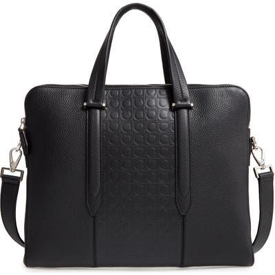Salvatore Ferragamo Firenze Double Gusset Leather Briefcase - Black