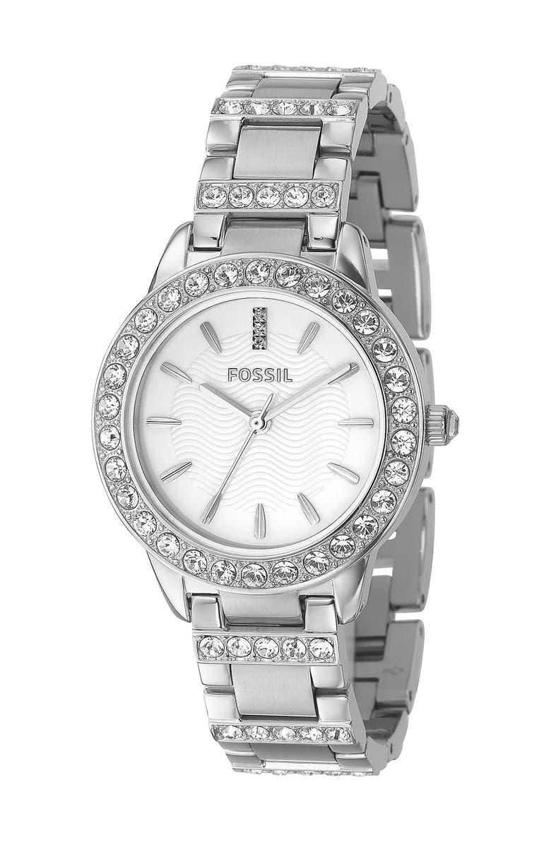 FOSSIL 'Jesse' Crystal Embellished Bracelet Watch, 34mm, Main, color, SILVER