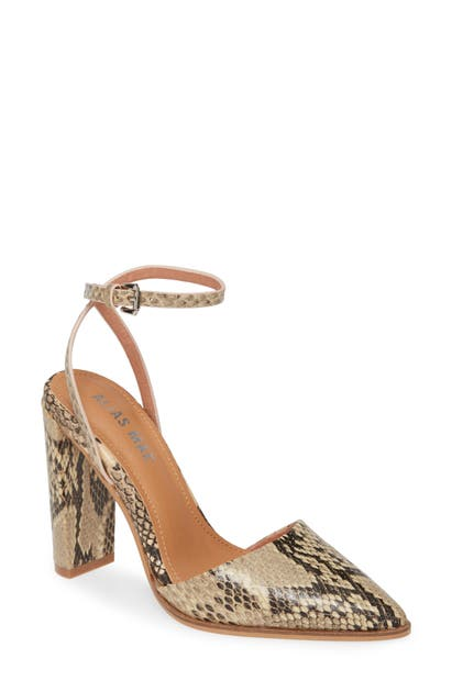 Alias Mae Layton Ankle Strap Pump In Beige Snake Print Leather