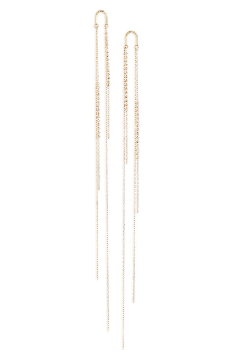 POPPY FINCH 18K Gold Arch Long Shimmer Earrings, Main, color, YELLOW GOLD