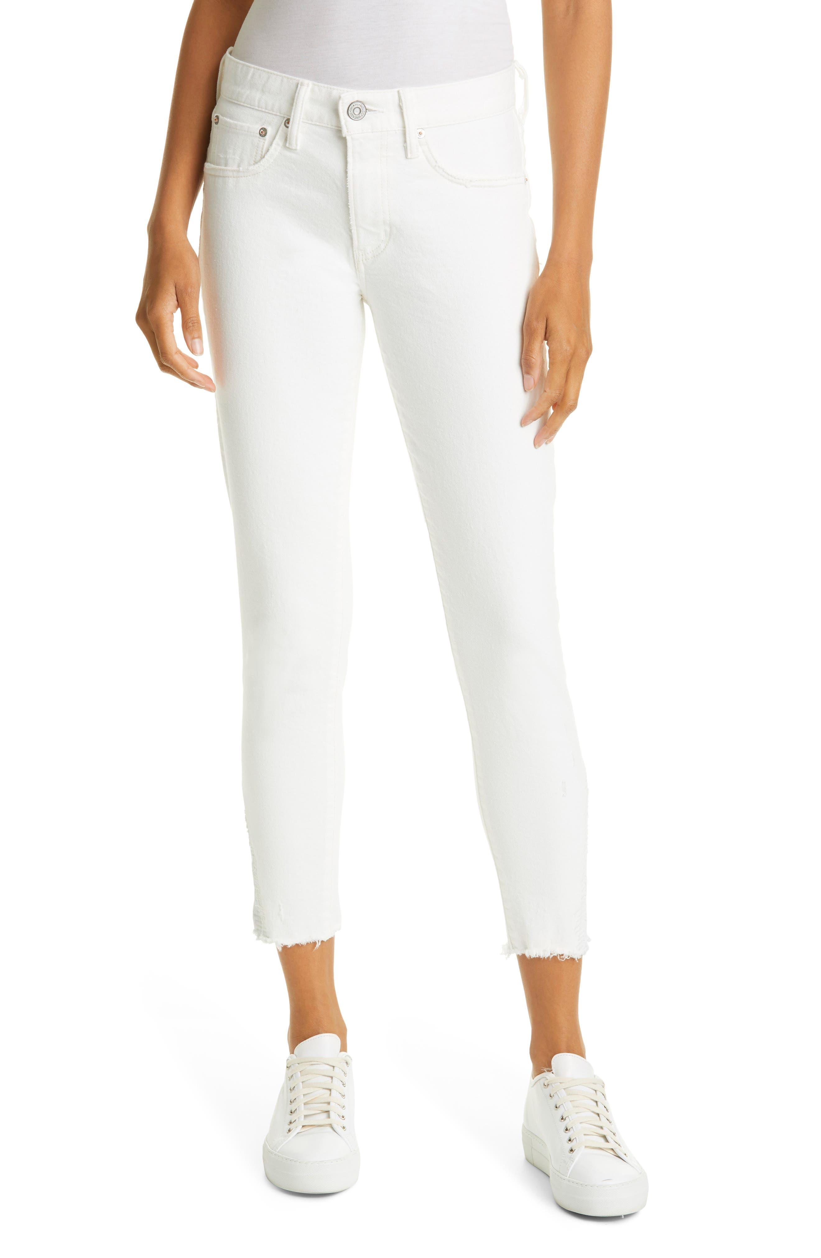 Burnside Distressed Raw Hem Skinny Jeans