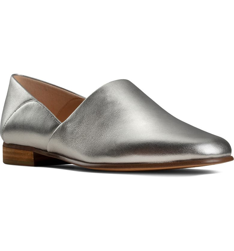 CLARKS<SUP>®</SUP> Pure Tone Flat, Main, color, SILVER METALLIC LEATHER