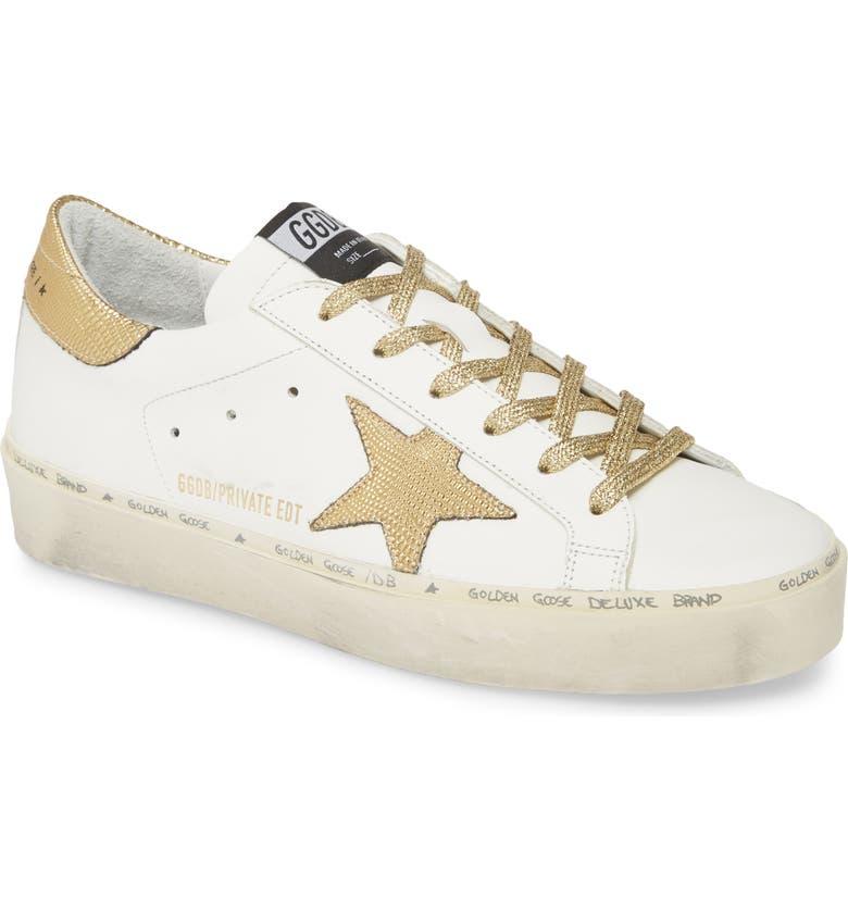 GOLDEN GOOSE Hi Star Metallic Platform Sneaker, Main, color, WHITE LEATHER/ GOLD LIZARD